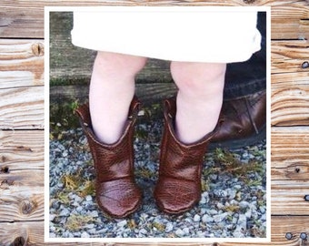 Brown Leather Baby Cowboy Boots | Alligator Texture | Preemie | Newborn | 3-6 Month | 6-9 Month | 9-12 Month | 12-18 Month | 18-24 Month