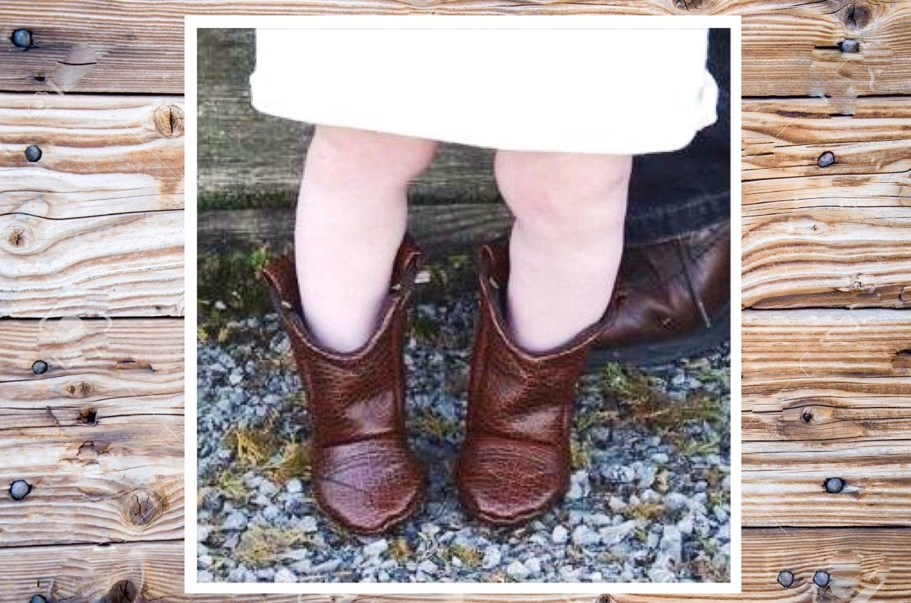 Brown Leather Baby Cowboy Boots Alligator Texture Preemie