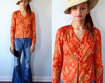 Vintage Cropped Top, 1970 Top, 1970s Blouse, Fall Blouse, Ladies Top, Vintage Blouse