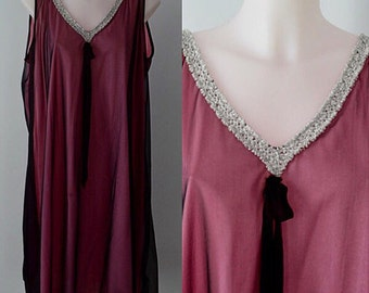 Vintage Nightgown, Vintage Nightgowns, 1960s Nightgown, Patricia, Black Chiffon Nightgown, Chiffon Nightgown, Black Nightgown