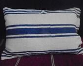 Blue Ticking Stripe Rug Pillow