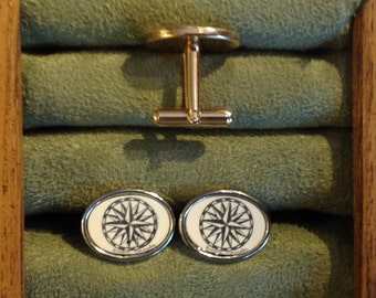 Cufflinks-Polymer Reproduction Scrimshaw-Mariners Compass