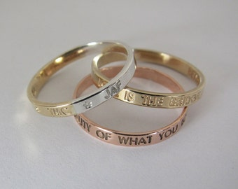 14k solid gold personalized ring * Custom 14k yellow, rose or white gold * 14k gold name ring * 14k gold wedding band