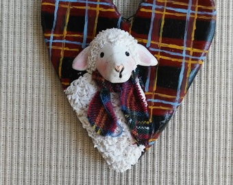 hand sculpted polymer clay Plaid sheep ornament