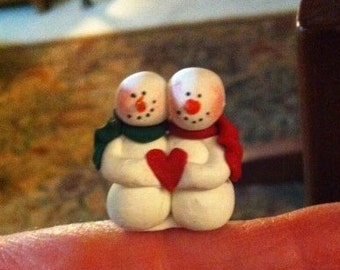 SO TINY hand sculpted polymer clay  sweetheart Valentine snowmen miniature figure