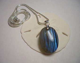 Blue Labradorite pendant, silver necklace, natural blue flash labradorite, striped, one of a kind, silver plated snake chain, labradorite