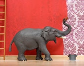 Painting elephant diorama art print: Big Time Paint Job