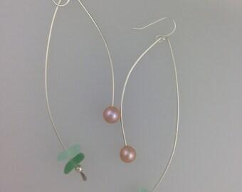 Long Swipe Sea Glass and Pearl Drops