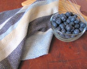 French Country Kitchen Towel, Rustic Farmhouse Decor Gourmet Chef Towel Coastal Cottage Country Home Decor Blue Cotton Hand Woven Dish Towel
