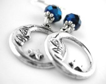 Sterling Silver Moon Earrings - Crescent Moon Jewelry - Gypsy Earrings - Silver Bohemian Earrings - Gypsy Jewelry - Moon and Star Earrings