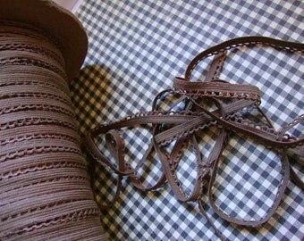 "10 yards 3/8"" wide brown lingerie elastic with scalloped edge for lingerie and headband"
