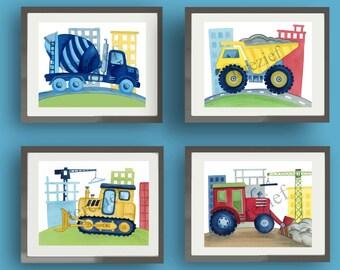 Construction truck art, busy builder bedding art, boy nursery kids art prints, dump truck, bulldozer art, trucks art prints