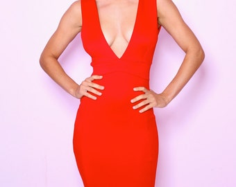 Scarlet deep plunge red wiggle dress