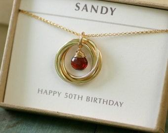 50th birthday gift for her, garnet necklace gold, January birthstone jewelry for wife gift from husband  - Lilia