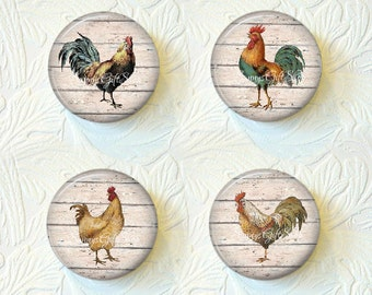 Rooster Magnets, Country Rooster Magnet Set 1.5 inch Buy 3 Sets Get 1 Set Free 494M