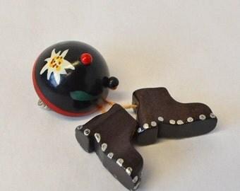 SALE Tyrol souvenir/ Austria brooch/vintage 1930s brooch/hat boots brooch/ski souvenir/vintage sports/edelweiss/folk art/handmade gift/Swiss