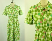 RESERVED FOR crystal>>>> 1960's Polkadot Day Dress L XL A Nancy Frock