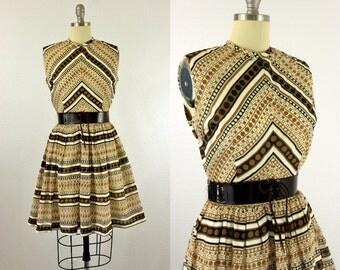 1960's Dots & Stripes Dress S M Kenny Classics Polkadots
