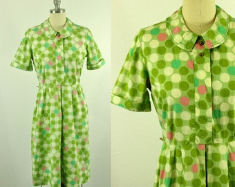 1960's Polkadot Day Dress L XL A Nancy Frock