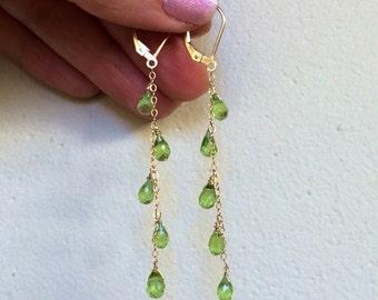 Peridot Cascade Earrings.  Gold fill or Sterling Silver Jewelry