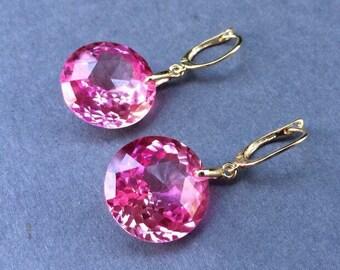 Luxury Pink Topaz Gem Stone Earrings - Gold jewelry