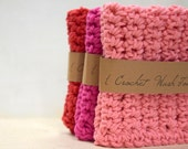 Valentine's Day crochet, washcloths, handmade, Set of 3, Three Towels, Cotton, Eco Friendly, Red, Pink, Bright Pink