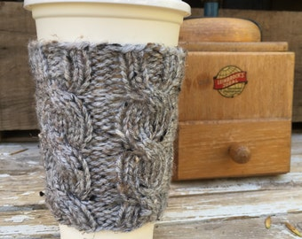 Coffee Cozy, Coffee Sleeve, Coffee Cup Cozy, Coffee Cup Sleeve- Cable Knit Coffee Cup Cozy in Soft Grey Tweed