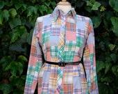 ON SALE Vintage 60s / Multi Color / Pastel / Patchwork / Pattern / Long Sleeve / Blouse /MEDIUM
