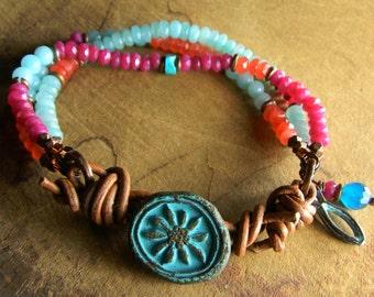 Southwestern Jewelry Amazonite Beaded Bracelet Ice Blue Pink Orange Rustic