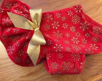 Holiday glitter snowflake velour Ruffle Dog Jacket, dog coat, Christmas, pet clothing, dog jackets, made in USA