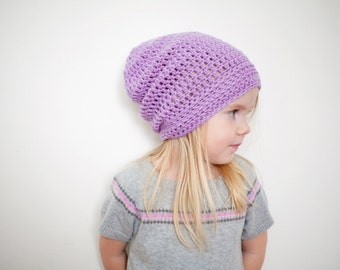 Violet Girl Toddler Hat, Slouchy Hat, Slouchy Beanie, Toddler Hats for Girl, READY TO SHIP, 2T - 4T (Reese)