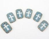 Cut out Cross Connector - Teal Blue Bronze Rustic Patina Cross - Rectangular Brass Cross Charm - 2 Holed Cross Bracelet Link (4) Pcs