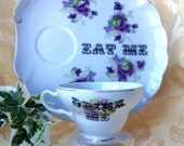 Eat Me Drink Me Altered Tea Cup and Plate Hostess Set