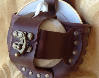 Brown Leather Steampunk Tea Cup Holster Set