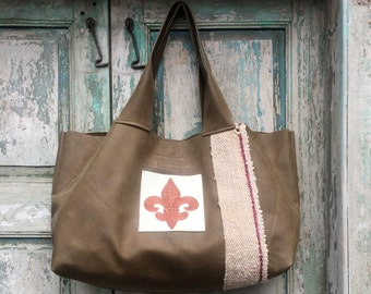 Handmade Khaki Green Leather French Market Bag with White Leather Custom Embroidered Tan Fleur de Lis Exterior Pocket