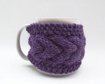 mug cozy knitted mug warmer purple cup cozy