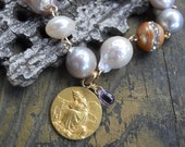 Promised Land   Antique French Gold filled Baroque Pearl Medal Charm Bracelet