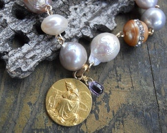 Promised Land   Antique French Gold filled Baroque Pearl Medal Charm Bracelet