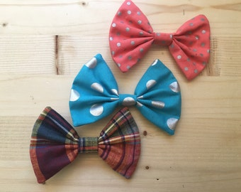 Hair bow 3 pack polka dots plaid blue orange