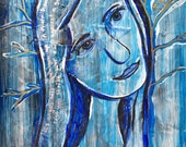 Anointed XII, Blue Lady Spiritual Painting, Acrylic Original Painting