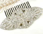 Art Deco Hair Comb OR Sash Brooch, Antique 1920s Large Rhinestone Wedding Dress Buckle or Bridal Head Piece, Paste Great Gatsby Hairpiece