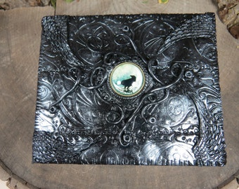 Black Raven Tarot Box in Black and Silver, Moon Keepsake Box, Raven Jewelry Box, Witchcraft, Witch's Keepsake Box, Witches Tarot, Pagan Art
