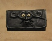 Grichels leather ladies wallet - black with yellow fish eyes