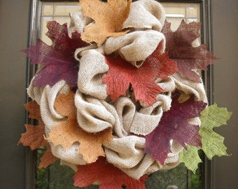 Fall Burlap Wreath, Fall Wreath, Maple Leaf Wreath, Burlap Wreath Fall, Autumn Wreath, Fall Decor