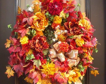 Fall Wreaths For Front Door, Fall Wreaths, Floral Door Wreath, Fall Decorations, Autumn Wreath, Scarecrow