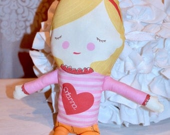 "Personalization Included! Blond Haired Soft and Cozy 18"" doll ~ Machine Washable"