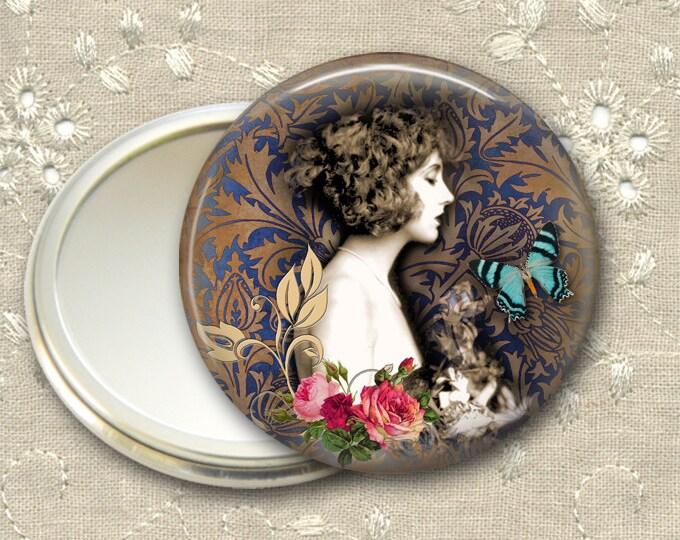 vintage lady pocket mirror,  original art hand mirror, mirror for purse, bridesmaid gift, stocking stuffer  MIR-729