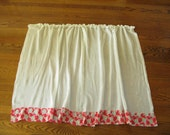 Vintage Cafe Curtains, semi sheer, red cotton print, netting, panels, kitchen