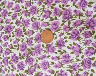 Vintage Fabric Cotton Print, lavender floral, flower, quilting, dressmaking, material, yardage