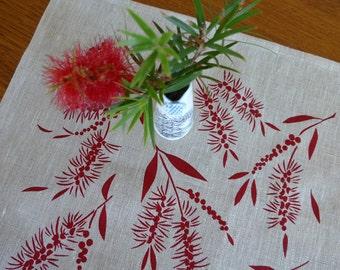 Linen Placemats Screen Printed Linen Place Mats Hand Printed Linen Table Mats Red&Natural (set of 4)